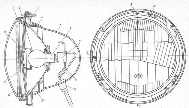 Внешний вид и устройство автомобильной фары ФГ140