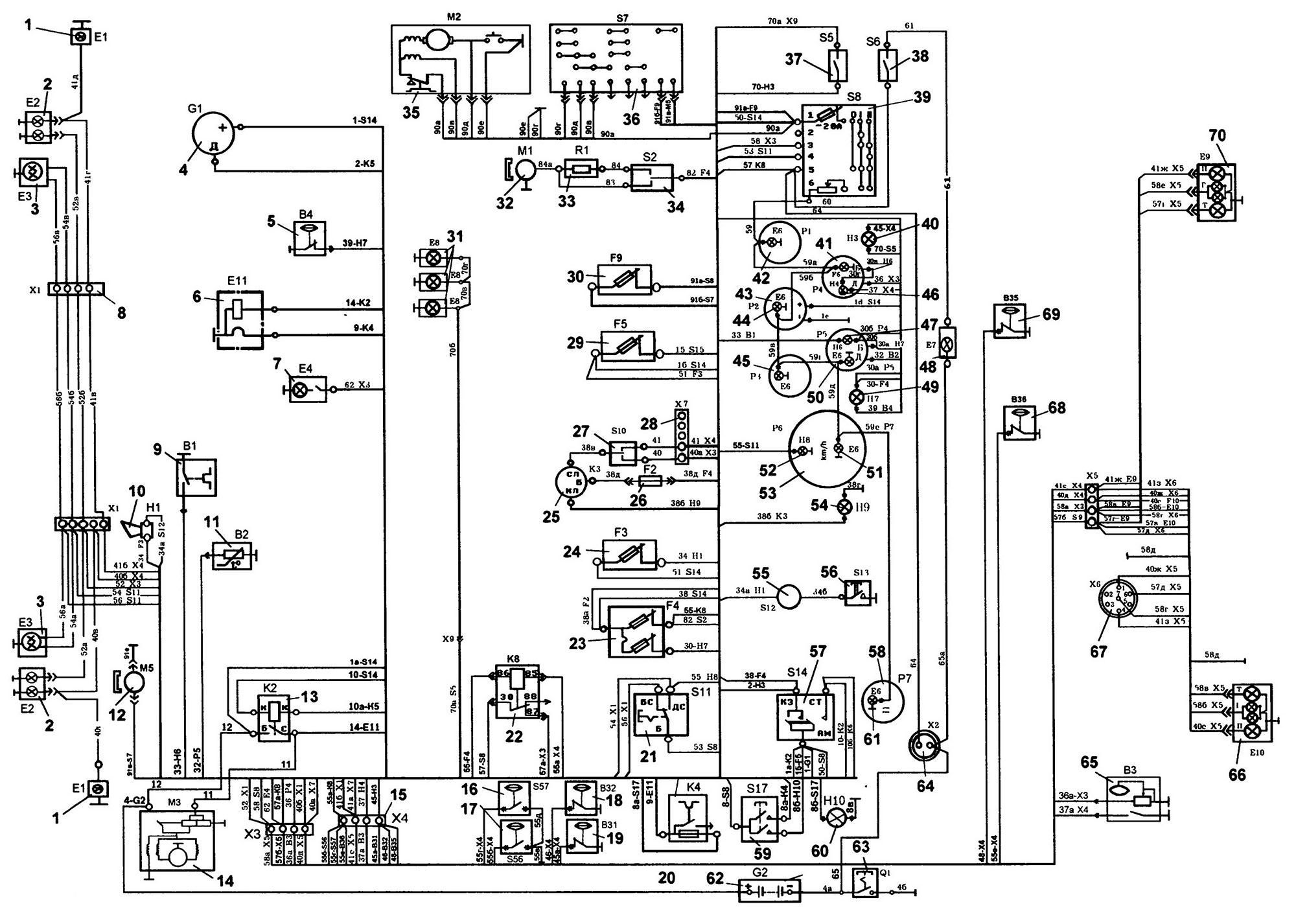 Схема электропроводки и электроники З�Л-431900