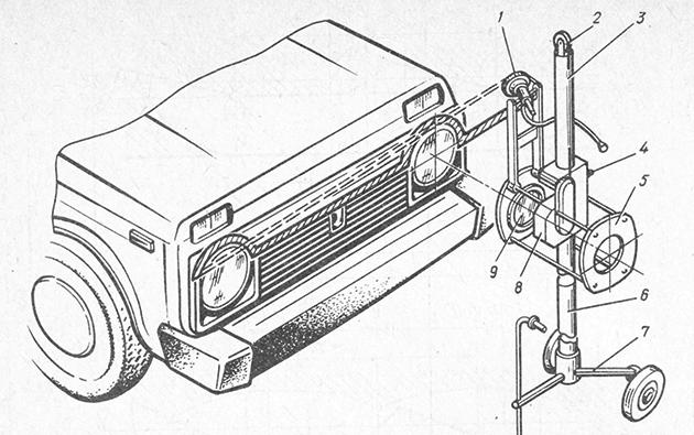Прибор для проверки и регулирования фар автомобиля