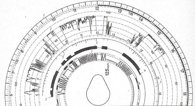 Диск тахографа ТЭМС-1 с примером записи и расшифровкой