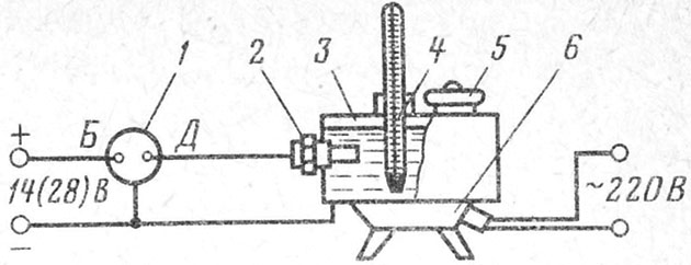 Схема включения указателя для проверки автомобильного магнито-электрического указателя температуры