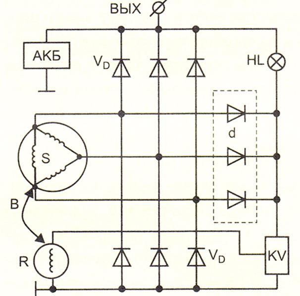 принципиальная электрическая схема автомобильного генератора Bosch