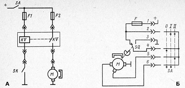 Схема управления электровентилятором системы охлаждения двигателя автомобиля и управления двухскоростным стеклоочистителем