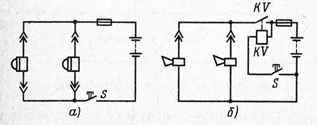 Схемы включения автомобильных звуковых сигналов