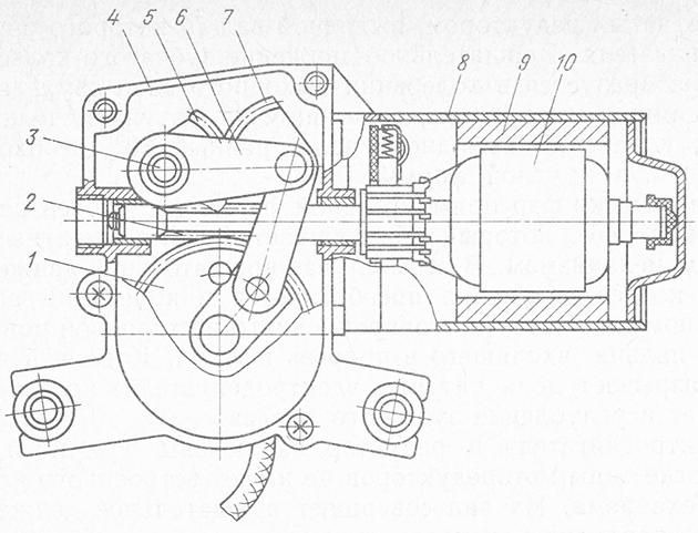 Устройство моторедуктора стеклоочистителя заднего стекла