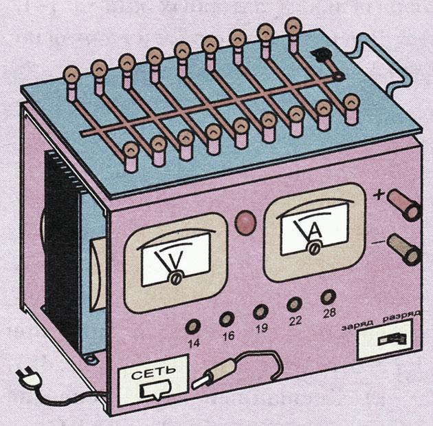 Внешний вид простого зарядно-разрядного устройства для автомобильного аккумулятора
