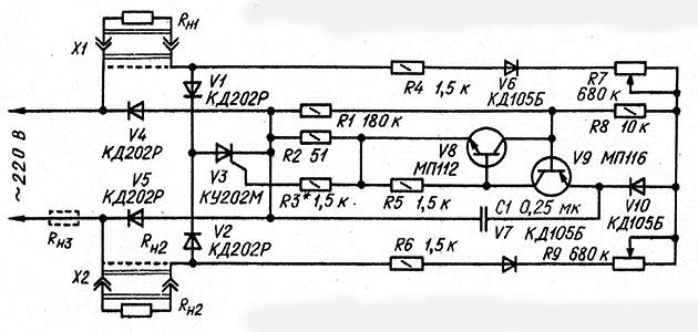 Принципиальная схема двухканального регулятора мощности на тиристоре