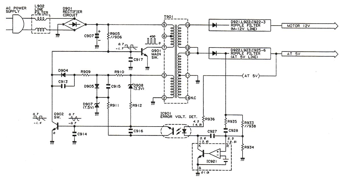 Принципиальная схема блока питания видеоплеера Sharp VC-V50