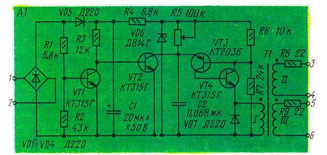Схема низковольтного тринисторного регулятор напряжения