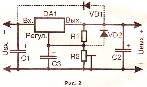 Типовая схема включения регулируемых стабилизаторов