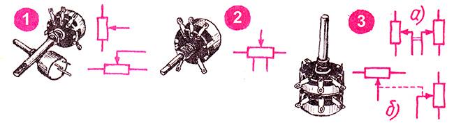 Условное графическое обозначение переменных резисторов