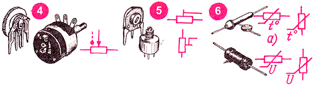 Схемотические символы переменных резисторов