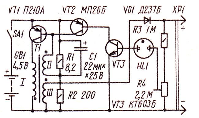 Приставка на батарейках для вспышки, схема преобразователя