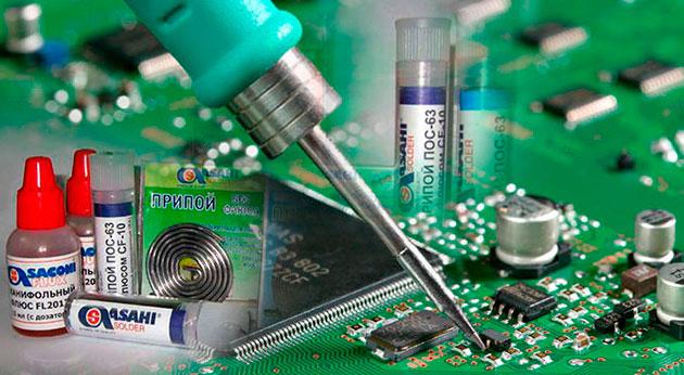Припои и флюсы для монтажа и пайки радиоэлектронных устройств