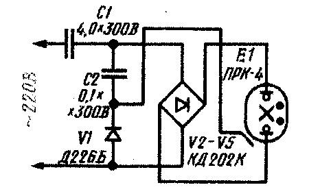 схема включения ртутно-кварцевой лампы