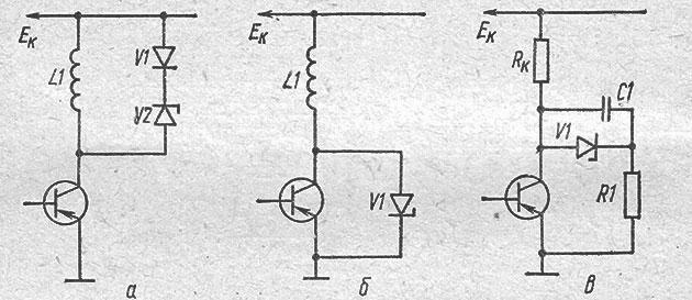 Схемы защиты транзистора от перенапряжений с помощью диода и стабилитрона