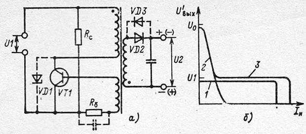 Схема однотактного преобразователя и его нагрузочные характеристики