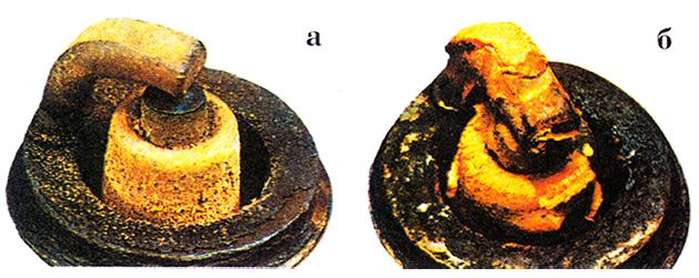 примеры внешнего вида внутренней торцовой части свечи зажигания
