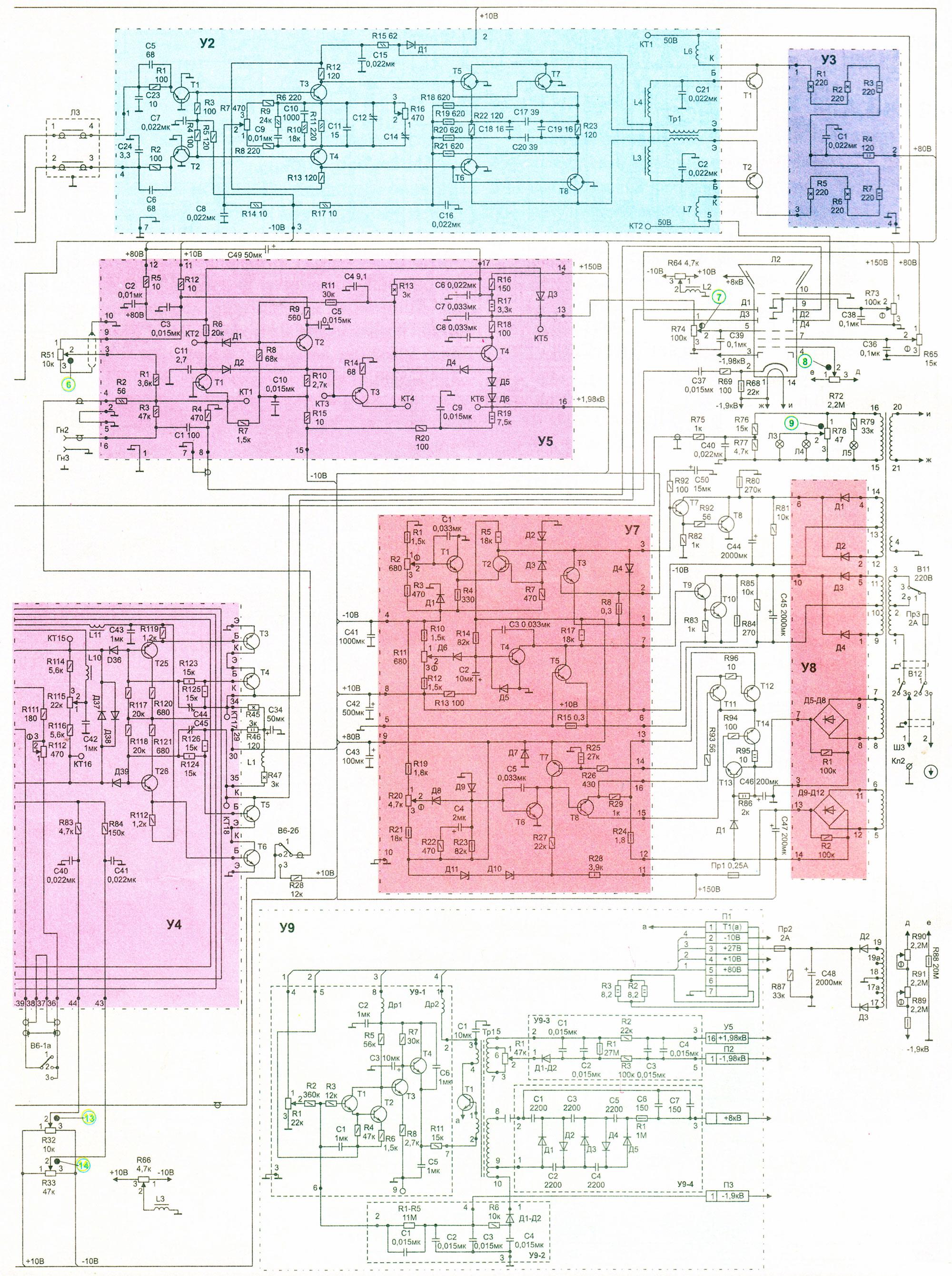 Принципиальная схема осциллографа С1-65 часть 2