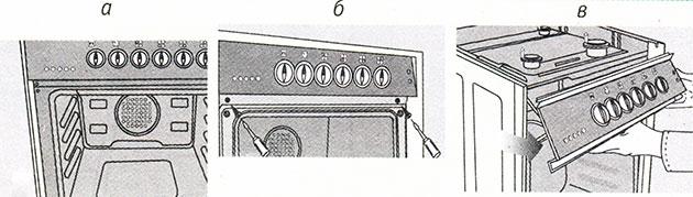 Демонтаж панели управления в электро, турбо и мультирежимных плитах