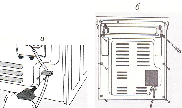 Демонтаж задней стенки для всех типов электрических и газовых плит