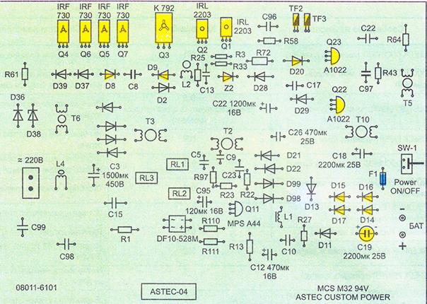 Расположение компонентов на плате силовой электроники