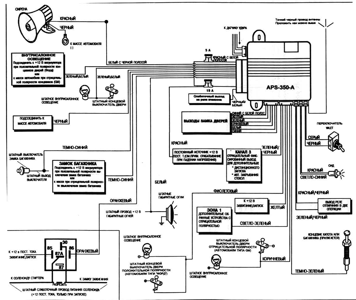 автомобильная сигнализация Prestige 350a - схема подключения