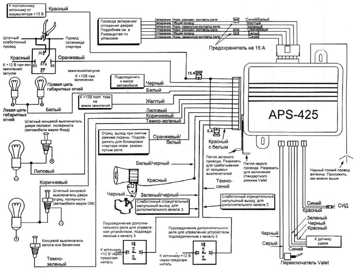 Автомобильная сигнализация Prestige 425 - схема подключения