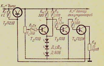 Схема стабилизатора напряжения, рассчитанного на ток до 10А для мотоциклов