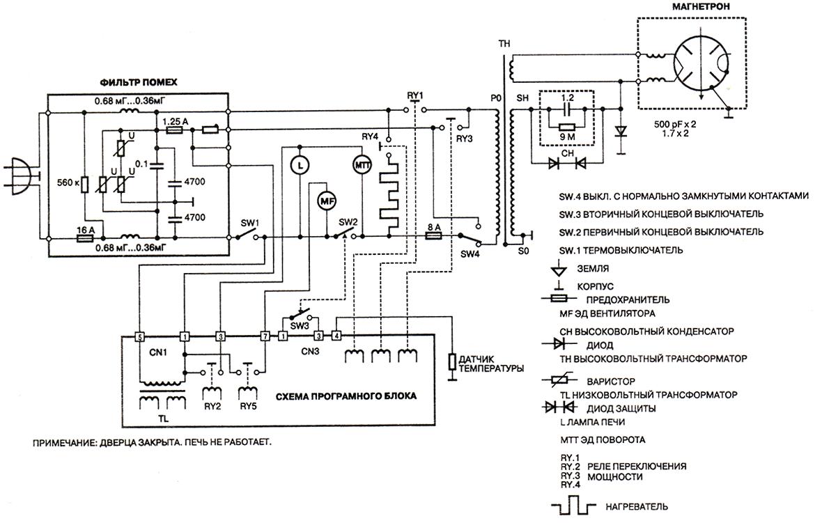 схема СВЧ печи Panasonic NN-K652