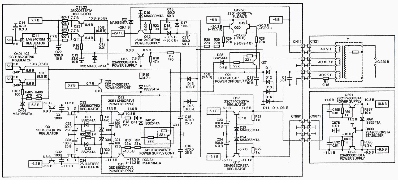 Принципиальная схема блока питания Technics SL-PS770A с высоким разрешением