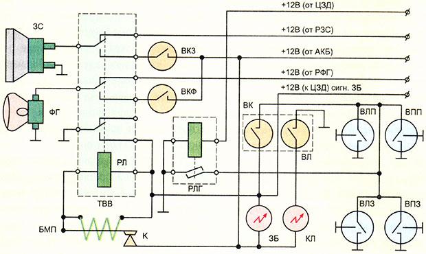 Релейная схема комбинированной противоугонной сигнализации для автомобиля