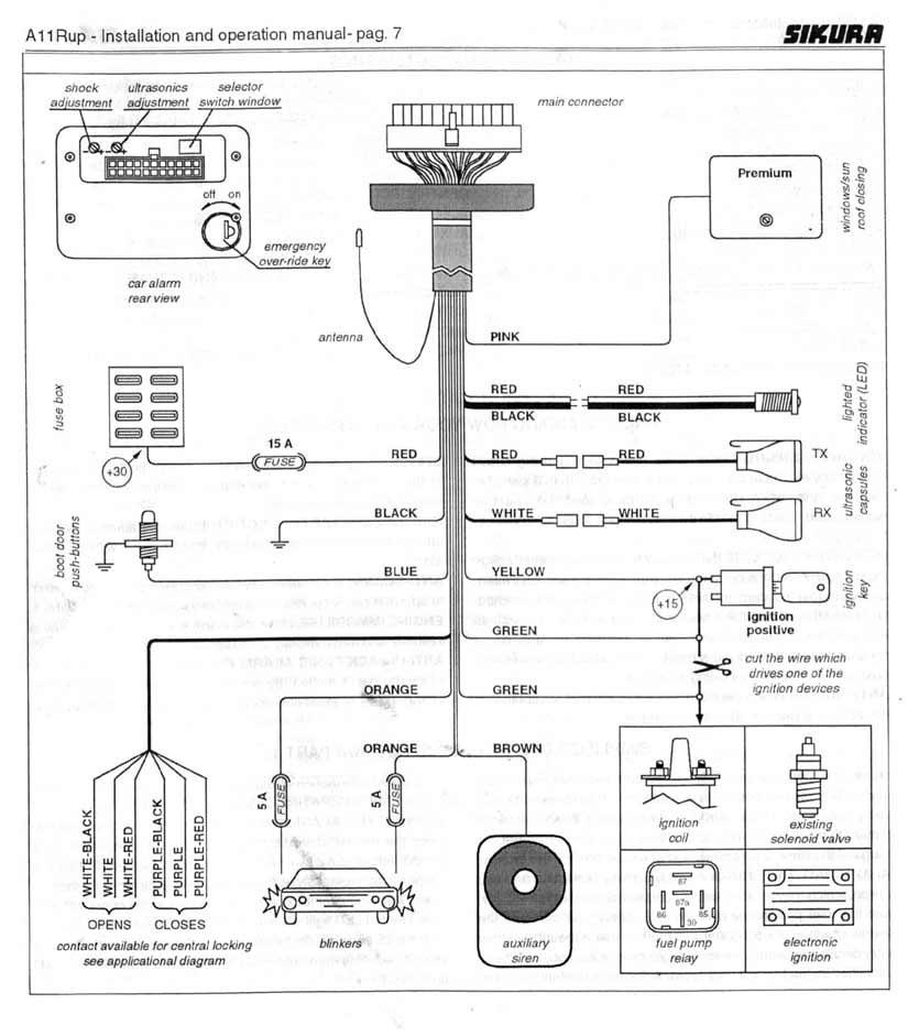 автомобильная сигнализация Excellent - схема подключения
