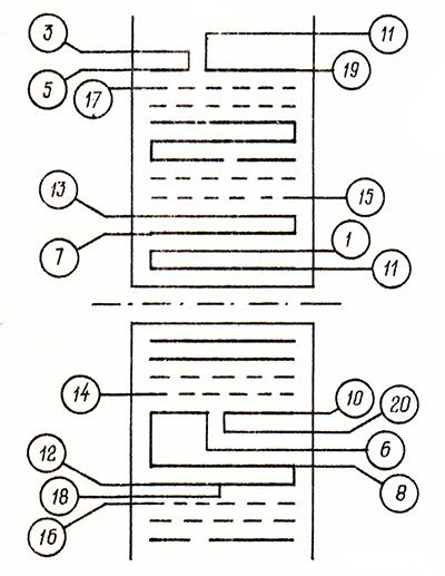 Схема расположения обмоток импульсного трансформатора ТПИ-3