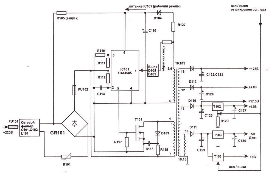 Схема блока питания телевизора на микросхеме tda4605