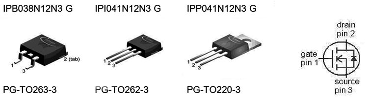Цоколевка транзисторов IPB038N12N3 G, IPI041N12N3 G, IPP041N12N3 G