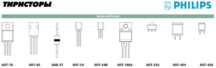 Различные типы корпусов тиристоров, симисторов, динисторов Philips
