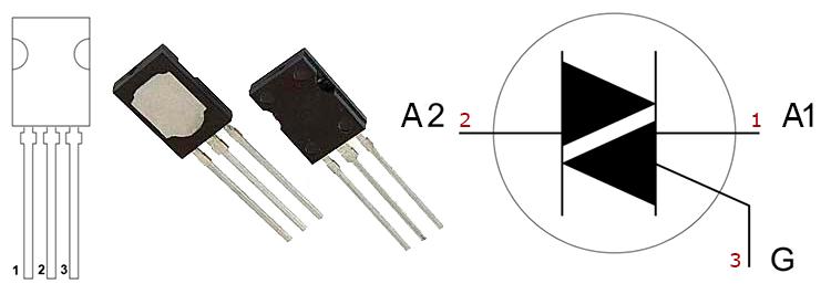 Цоколевка симисторов bt134 и внешний вид