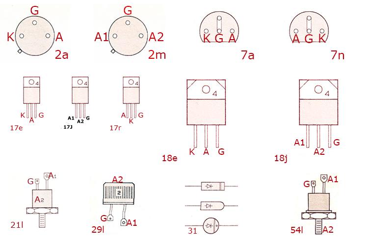 Цоколевка симисторов тиристоров динисторов tic20 - tic272