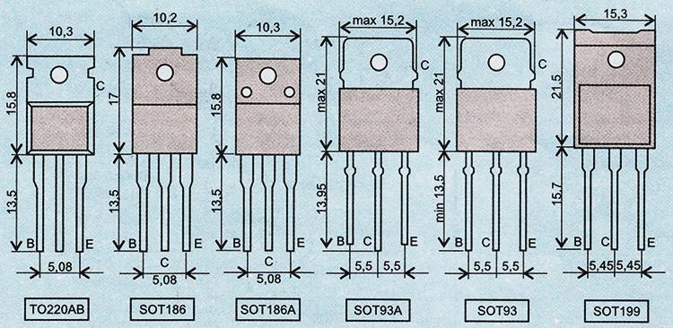 Стандартные корпуса и цоколевка транзисторов Philips для выходных каскадов строчной развертки