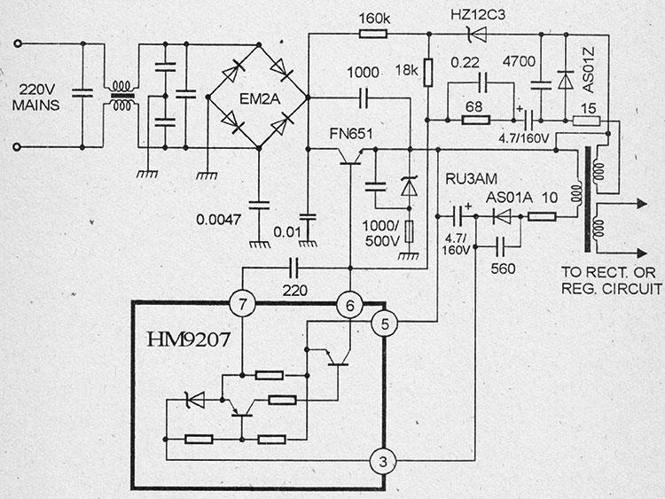 Схема импульсного блока питания на микросхемах hm9207