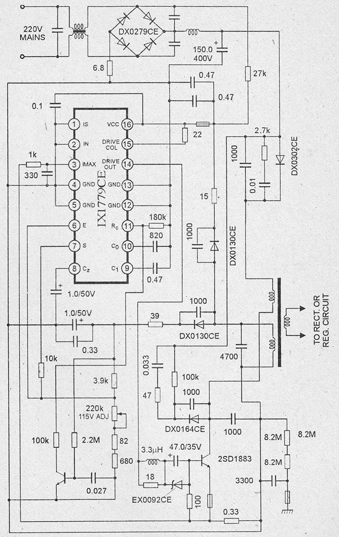 Типовая схема импульсного блока питания на микросхеме iX1779СЕ