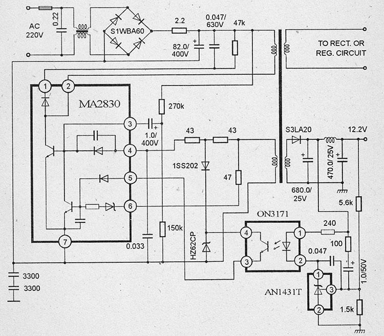 Схема импульсного блока питания на микросхемах ma2830