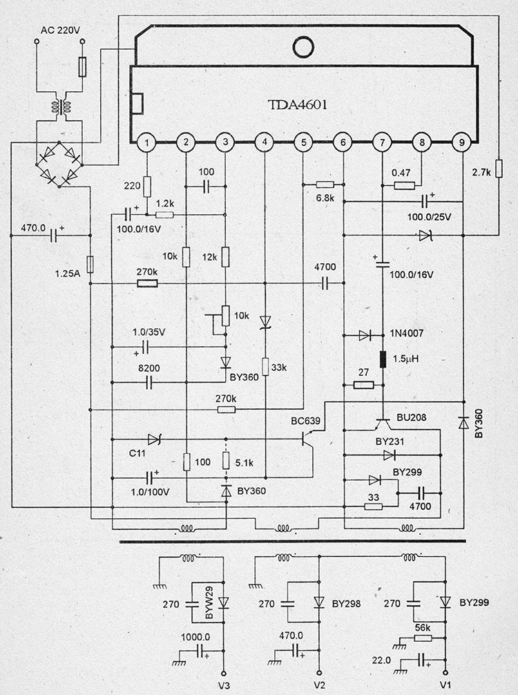 Схема блока питания на микросхемах tda4601