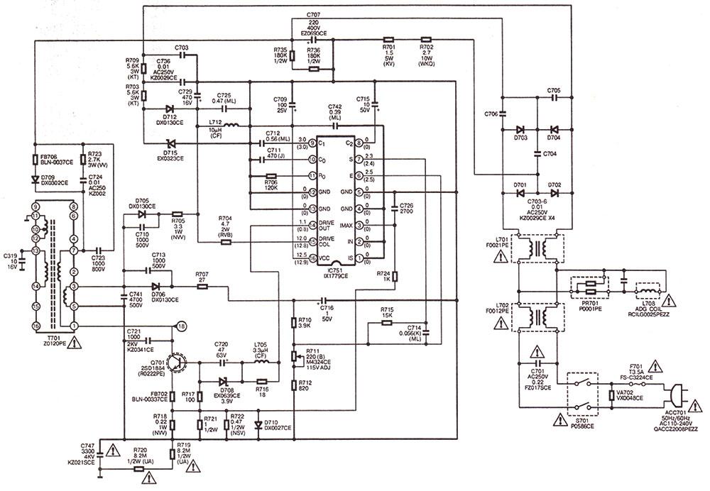 Принципиальная схема импульсного блока питания на микросхеме iX1779СЕ телевизора sharp
