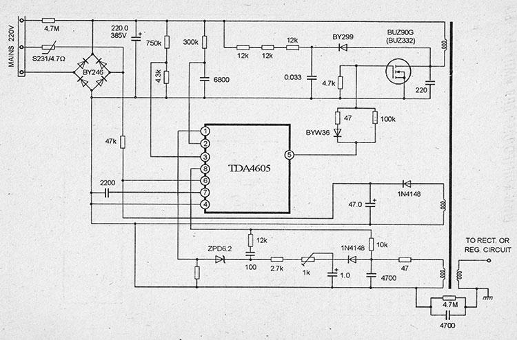 принципиальная схема блока питания на микросхемах tda4605