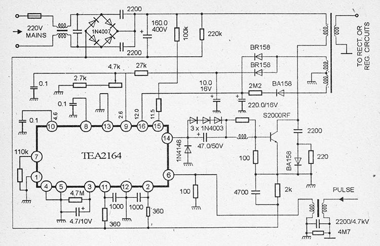 принципиальная схема импульсного блока питания на микросхемах TEA2164