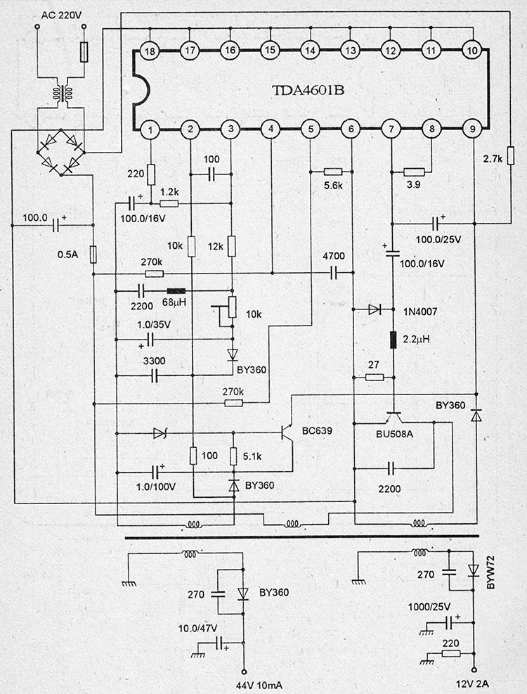принципиальная схема блока питания на микросхемах tda4601b