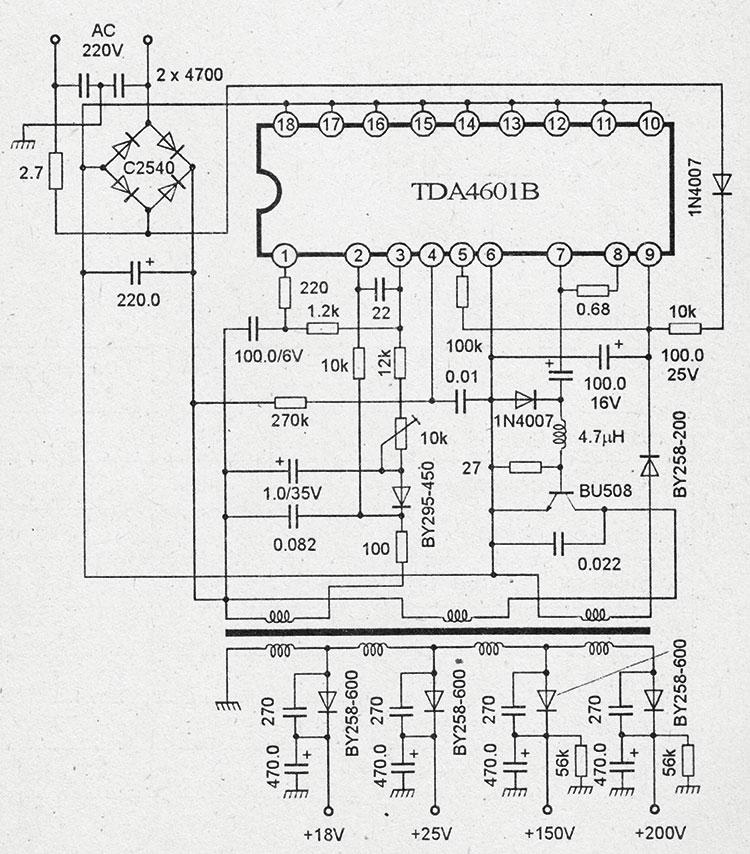 Схема импульсного блока питания на микросхемах tda4601b