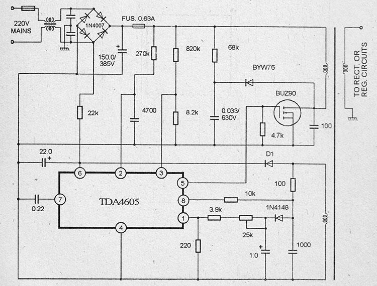 Схема импульсного блока питания на микросхемах tda4605